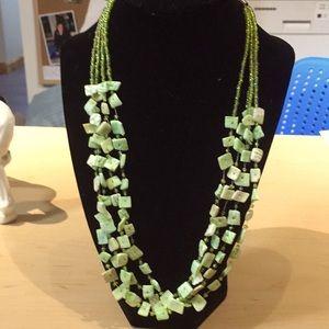 "Necklace fashion gorgeous green 21"""